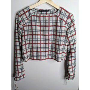 Zara | Plaid crop long sleeve blouse